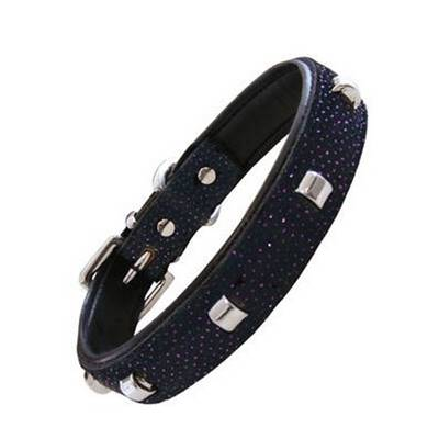 Collier Cuir chien LEATHER Tachuelas Goujons & Brillants 37-44 x 2.5 cm, noir