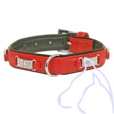 Collier Simili cuir & Strass 31-37 x 2.2 cm, rouge