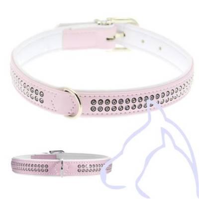 collier pour chien rose avec strass