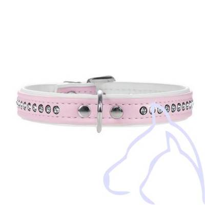 Collier Simili Cuir chien strass 1 rangée Fashion XS 16-20 cm/14 mm, rose clair