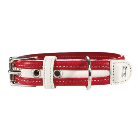 Collier Cuir chien Madeira 36-45 x 3.0 cm, rouge/blanc
